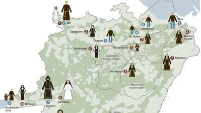 Frauen sind in der Mehrzahl: Die 21 letzten Klöster im Bistum St.Gallen