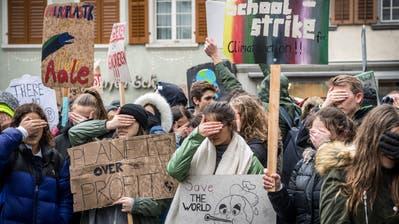 Die Demonstranten verschliessen für eine Minute die Augen, um symbolisch untätige Politiker nachzuahmen. (Bild: Andrea Stalder)