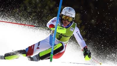 Holdener verpasst im Slalom den ersten Platz um sieben Hundertstel