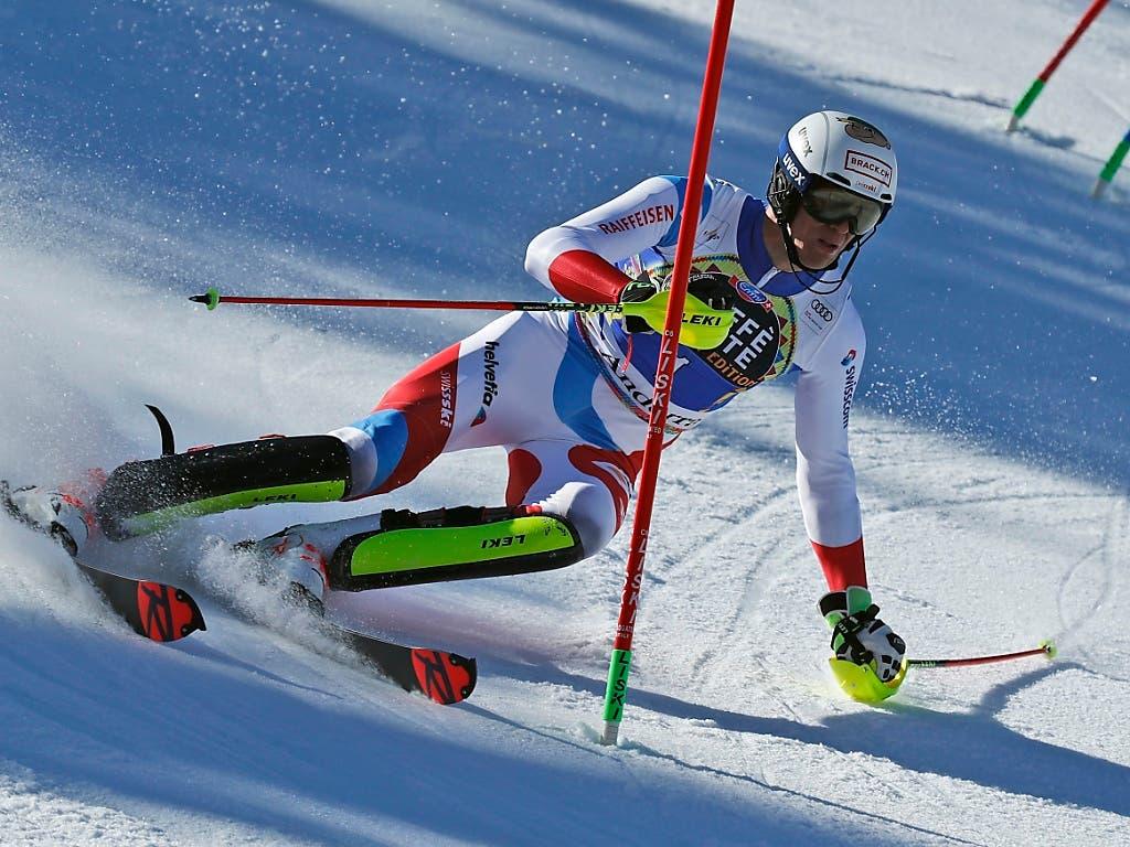 Ramon Zenhäusern unterwegs zur zweitbesten Zeit im ersten Lauf (Bild: KEYSTONE/AP/GABRIELE FACCIOTTI)