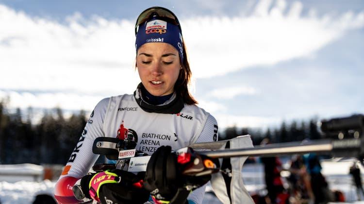 Die Alpnacherin Flavia Barmettler will im Sommertraining den Schwerpunkt auf das Schiessen legen.Bild: pd (Lenzerheide, 16. Januar 2019)