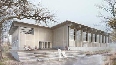"""Das Siegerprojekt """"équilibre"""" für den Neubau des Hallenbades Appenzell. (Visualisierung: PD)"""