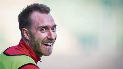 Er hat gut lachen: Christian Eriksen ist einer der begehrtesten Fussballer – im Sommer könnte er zum Rekordtransfer werden. (Bild: Benjamin Manser/St.Gallen, 22. März 2019)