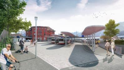 So könnte der Bahnhofplatz in Goldau künftig aussehen. (Visualisierung: PD)