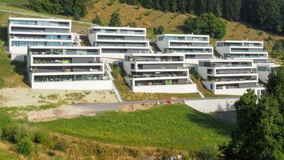 Dutzende Eigentumswohnungen an Hanglage: die Überbauung Rütirain in Meierskappel. (Bild:ruetirain.ch/C. Ghislini)