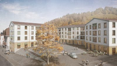 So soll sich der Dorfplatz Entlebuch ab 2022 präsentieren. Visualisierung: PD