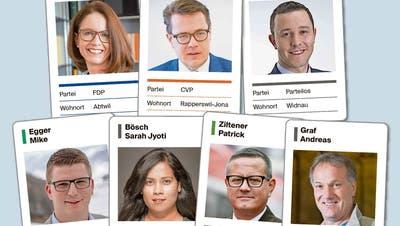 Diese zwei Frauen und fünf Männer würden gerne neu den Kanton St.Gallen im Ständerat vertreten. (Grafik: sbu)