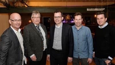 Der neue Arboner Stadtrat:Jörg Zimmermann, Luzi Schmid, Stadtpräsident Dominik Diezi, Didi Feuerle und Michael Hohermuth. (Bild: Donato Caspari, 10. Februar 2019)