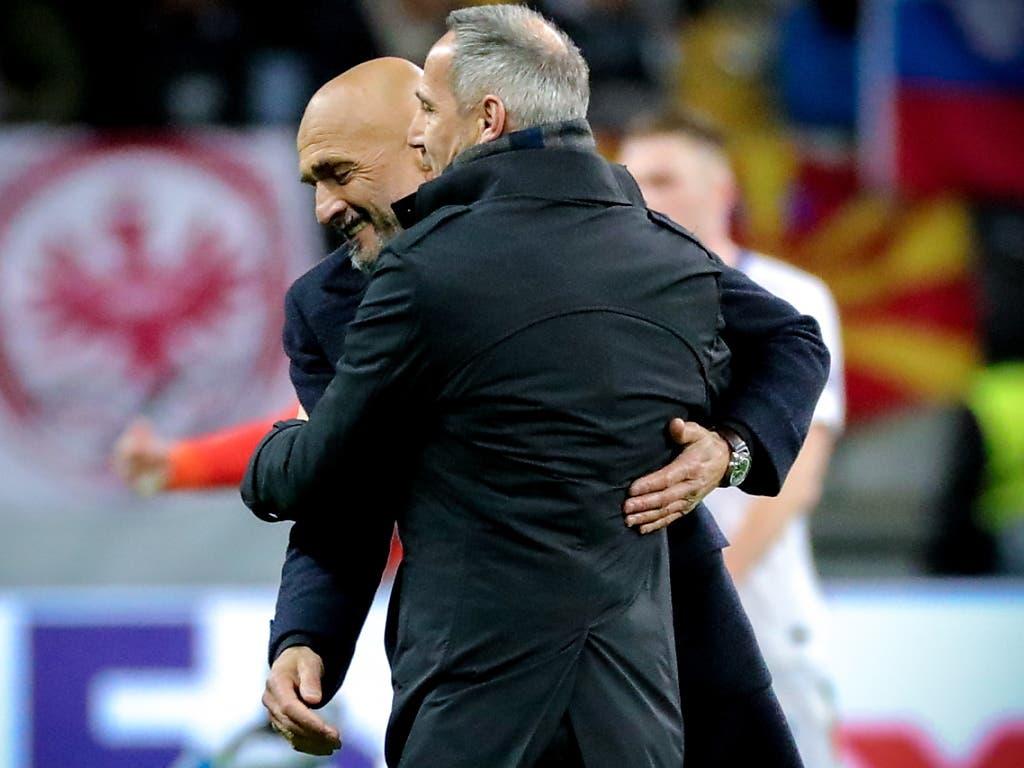 Die beiden Trainer Luciano Spalletti und Adi Hütter konnten beide mit dem 0:0 im Hinspiel zwischen Eintracht Frankfurt und Inter Mailand leben (Bild: KEYSTONE/EPA/ARMANDO BABANI)