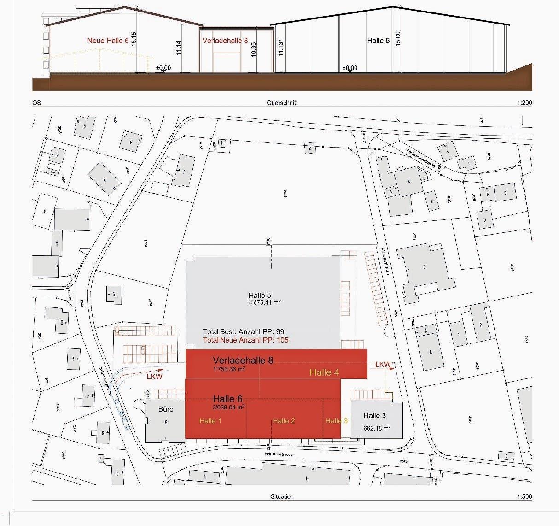 Die Höhe der Halle 6 wird jener der Halle 5 angepasst. Die Verladehal- le 8 dazwischen fällt etwas niedriger aus. (Bild: pd)