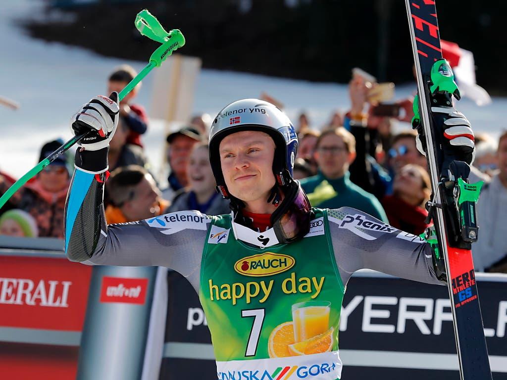 Henrik Kristoffersen gewinnt nach der WM in Are und dem Riesenslalom in Bansko auch in Kranjska Gora (Bild: KEYSTONE/EPA/ANTONIO BAT)