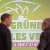 Das Logo der Grünen anlässlich einer Delegiertenversammlung.Bild: Urs Flüeler/Keystone (Emmenbrücke, 12. Januar 2019)