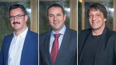 Kandidaten fürs Rorschacher Stadtpräsidium (v.l.): Röbi Raths, Guido Etterlin, Beat Looser. (Bild: jor)