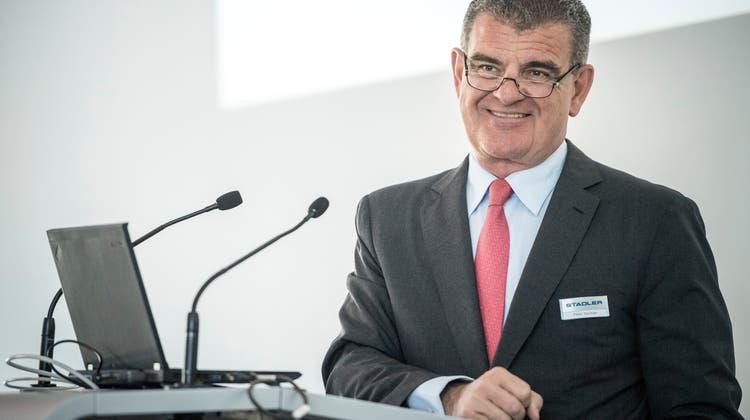 Stadler-Patron Peter Spuhler hat Vorkehrungen getroffen, um das Aktienkapital im Bedarfsfall ruck, zuck erhöhen zu können. (Bild: Andrea Stalder (Bussnang, 19. März 2019)).