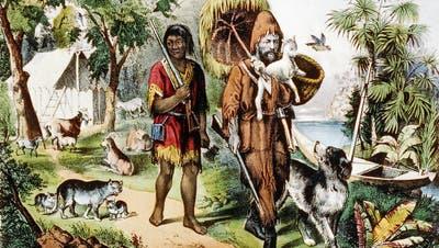 Überlebt in der Wildnis dank bürgerlichen Tugenden wie Fleiss und Bescheidenheit: Robinson Crusoe mit seinem devoten Gefährten Freitag. Darstellung aus dem Jahr 1875: (Bild:Keyston)