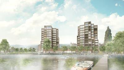 In der Arboner Bucht, wo heute das Hotel Metropol steht, will HRS das Projekt «Riva» mit diesen Zwillingstürmen realisieren. (Bild: Visualisierung/PD)