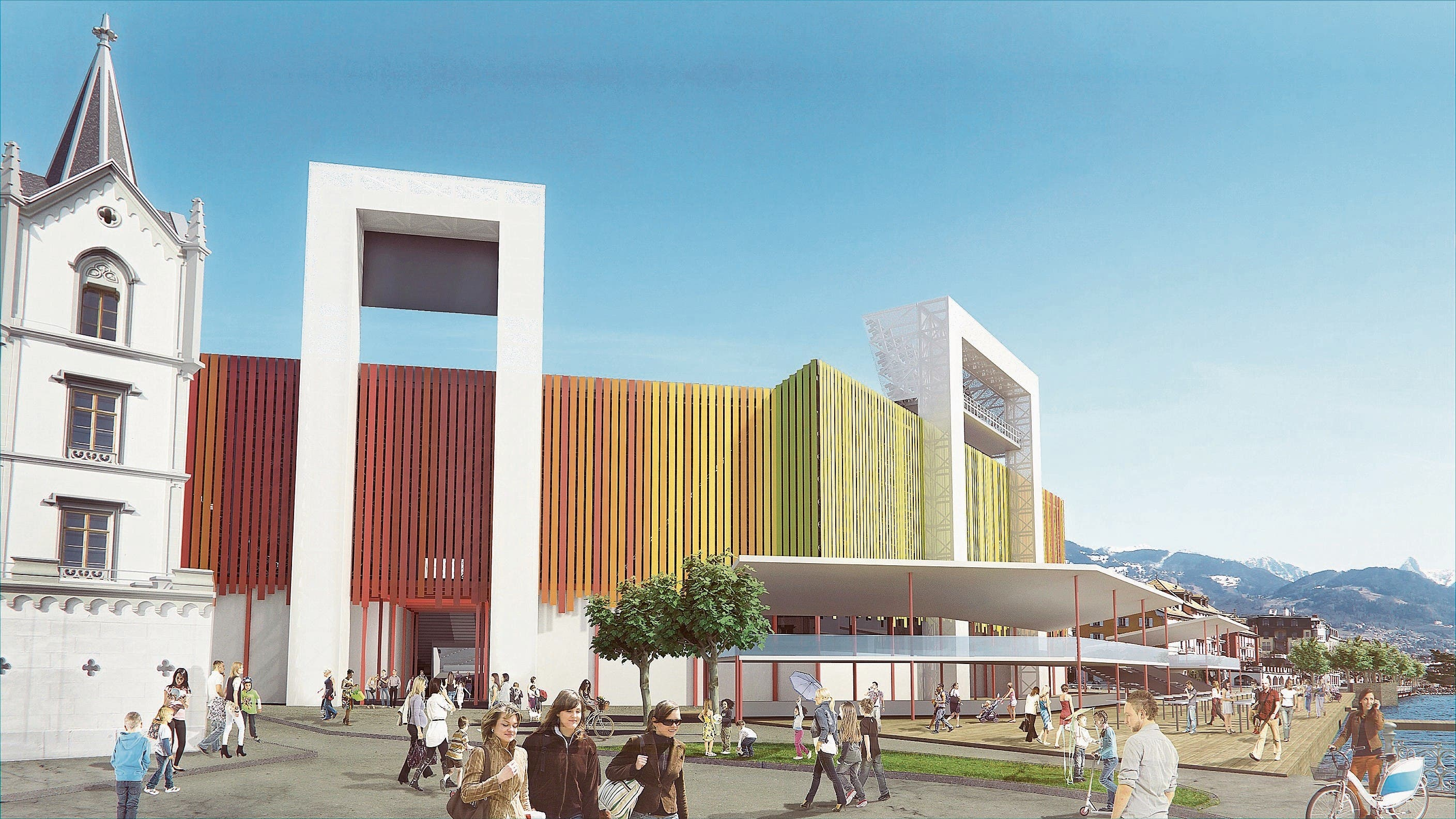 So soll die fertiggestellte Arena in Vevey aussehen. (Visualisierung: Hugo Gargiulo)