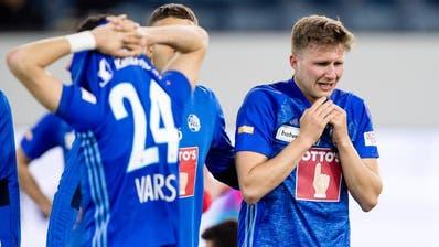23.04.2019; Luzern; FUSSBALL SCHWEIZER CUP - FC Luzern - FC Thun;Enttaeuschung nach dem Spiel.Idriz Voca (Luzern) (Martin Meienberger/freshfocus)