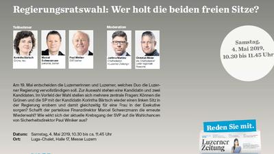 Sie treten am 19. Mai zum zweiten Wahlgang an: Korintha Bärtsch, Marcel Schwerzmann und Paul Winiker (von links). (Bilder: Boris Bürgisser, 12. Februar 2019)