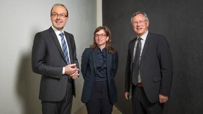 Präsentieren gute Zahlen: (von links) CSS-Finanzchef Armin Suter, CEOPhilomena  Colatrella und Präsident Jodok Wyer. (Bild: Roger Grütter, 2. April 2019)