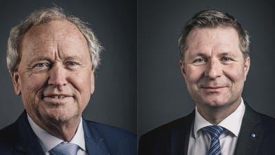 Die beiden bisherigen Regierungsräte Paul Winiker (links) und Marcel Schwerzmann erhalten unterstützung von der SVP. (Bilder: PD)