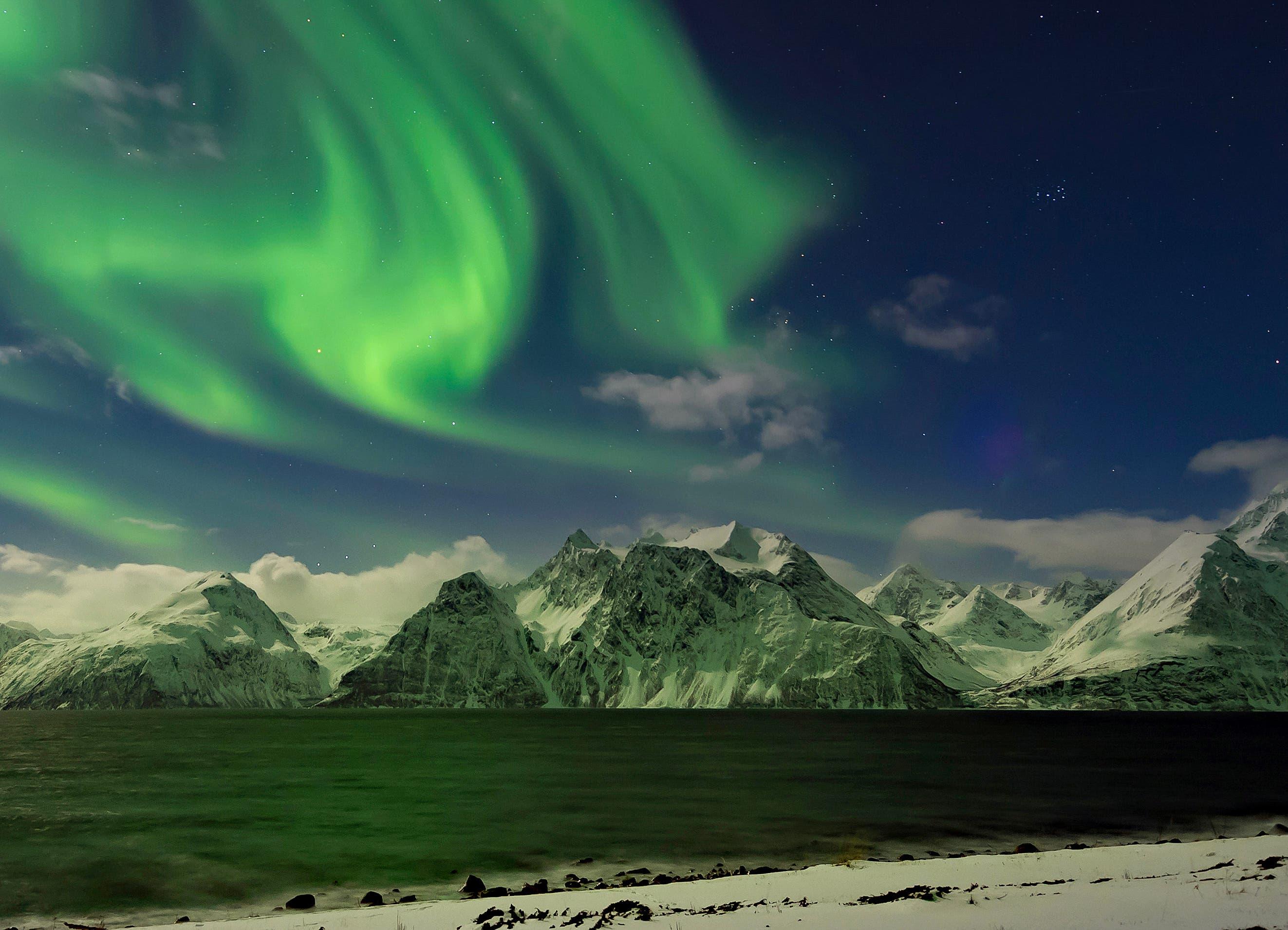 Polarlichter in den norwegischen Lyngenalpen (Bild: Niklaus von Rotz, Norwegen, 16. März 2019)
