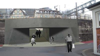 So könnte der Dammdurchbruch zwischen Dammstrasse und Lädelistrassein Luzern aussehen (Projektbild 2008). Visualisierung pd