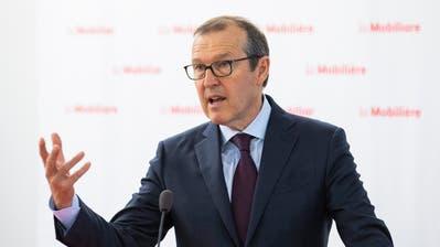 Mobiliar-CEO Markus Hongler an der Bilanzmedienkonferenz in Bern. (Bild: Peter Klaunzer/Keystone, 9. April 2019)