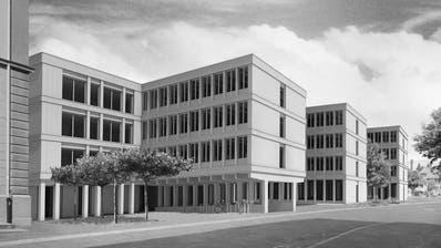 Blick auf den geplanten Ergänzungsbau – links das bestehende Regierungsgebäudes. (Visualisierung: PD/Gäumann Lüdi von der Ropp Architekten SIA)