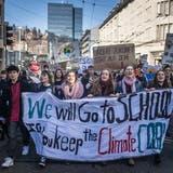 Kundgebung für griffige Massnahmen gegen den Klimawandel in St.Gallen. Im Hintergrund das Rathaus. (Bild: Michel Canonica - 15. Februar 2019)