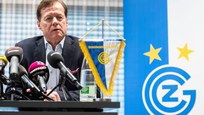 GC-Präsident Stephan Rietiker spricht am Montag an einer Medienkonferenz über den Abbruch. (Bild: Ennio Leanza/Keystone, Zürich, 13. Mai 2019)