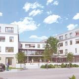 Die Visualisierung zeigt die drei geplanten Bauten der Genossenschaft Dorfzentrum an der Poststrasse östlich des Gemeindehauses. (Bild: PD)
