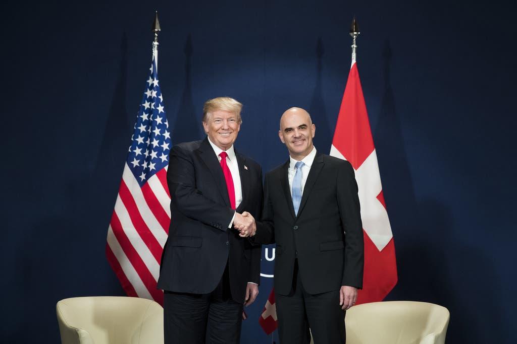 Donald Trump und Alain Berset am WEF in Davos 2018 (Bild: KEY)
