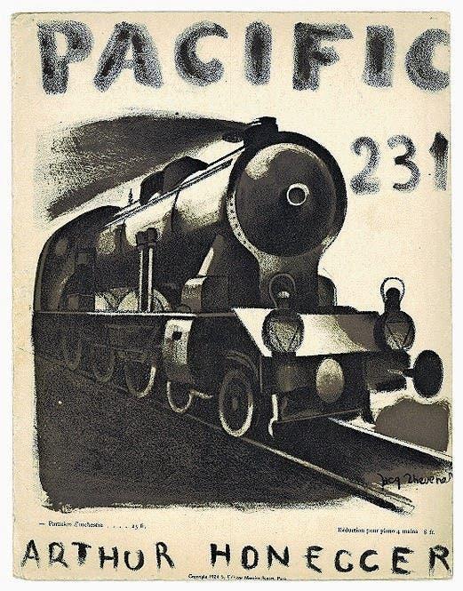 Titel von Jacques Thévenet zur Partitur von Arthur Honeggers Pacific 231. (1924)