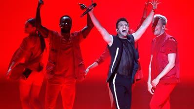 Luca Hänni im Finale des Eurovision Song Contest in Tel Aviv. (Bild: KEY)