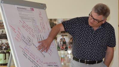 Kirchgemeindepräsident Martin Graf erläutert die eingebrachten Vorschläge zum Thema Kommunikation. (Bilder: Adi Lippuner)