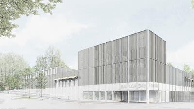 Die Sicht auf den ebenerdigen Haupteingang des neuen Hallenbads mit Blick von Osten her. (Bild: Architekten Koller, Kintat, Bienert/PD)