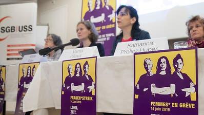 Neben den regionalen Streikkollektiven mobilisieren auch der Schweizerische Gewerkschaftsbund (SGB) und seine Mitglieder für den nationalen Frauenstreik vom 14. Juni. (Bild: KEYSTONE/PETER KLAUNZER)