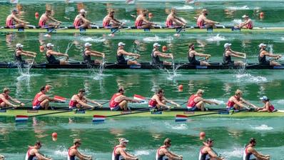 Mehrere Ruder-Achter während des letztjährigen Weltcups auf dem Rotsee. Der Achter ist die einzige olympische Bootsklasse mit einem Steuermann. (Bild: Boris Bürgisser (Luzern, 14. Juli 2018))