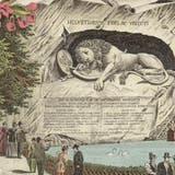 Blumen statt Blut für die Touristen: Das 1821 eingeweihte Löwendenkmal wurde bald zur Attraktion. (Bild: Postkarte der Gebrüder Metz, ca. 1896,ZHB Luzern Sondersammlung)