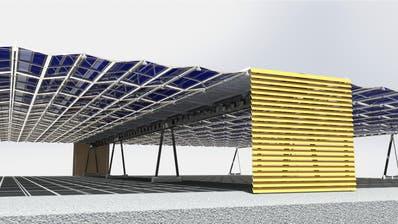 So soll das Solarfaltdach ausgefahren aussehen. (Visualisierung: SAK)