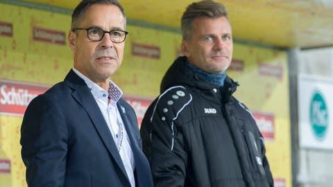 Bereits die nächste Saison vor Augen: FCSG-Präsident Matthias Hüppi und Sportchef Alain Sutter. (Bild: Urs Bucher)