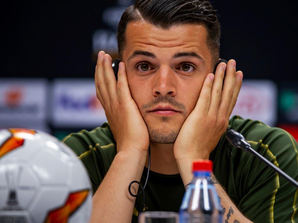 Vor dem grössten Final seiner Karriere: Arsenals Mittelfeldstratege Granit Xhaka (Bild: KEYSTONE/AP UEFA/JOOSEP MARTINSON)
