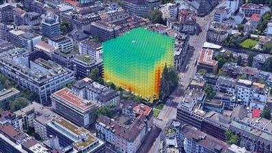 Visualisierung einer digitalen Datenanalyse des Start-ups Archilyse. Wo im Gebäude der Blick auf umliegende Bäume fällt (Hochhaus zur Palme, Zürich). (Bild: PD)