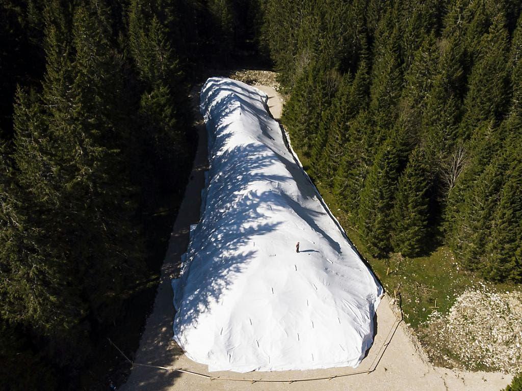 Am Rande des Risoud-Waldes wird der Schnee bis zum nächsten Winter gelagert. (Bild: Keystone/JEAN-CHRISTOPHE BOTT)