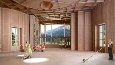 Am Modell wird ersichtlich, wie der grosse Innenraum gestaltet sein wird. Die grossen  Fenster, die auf die Natur hinausgehen, sollen inspirierend wirken. (Visualisierung: PD)