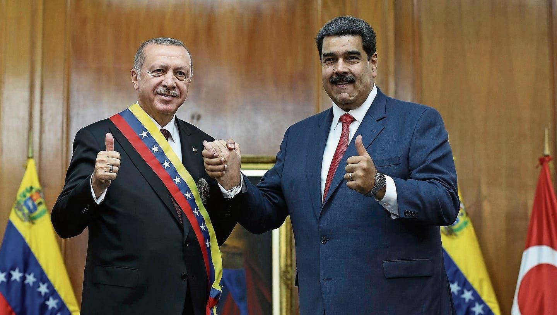 Der türkische Präsident Erdogan (links) mit dem venezolanischen Präsidenten Nicolas Maduro. (Bild: Cem Oksuz/Getty, Caracas, 3. Dezember 2018)