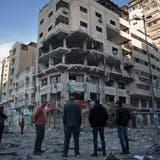 Eines der palästinensischen Gebäude, welches beim israelischen Luftangriff zerstört wurde. (AP Photo/Khalil Hamra) Bild: Khalil Hamra/AP (Gaza, 5. Mai 2019)