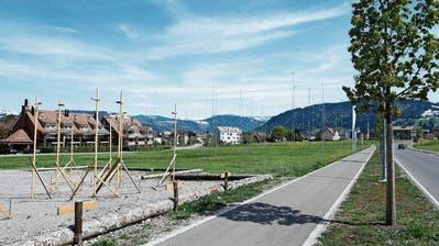 Die Profile auf der Zimel-Wiese verraten es: Hier ist einiges in Planung. (Bild: Stefan Kaiser, Unterägeri, 7. Mai 2019)