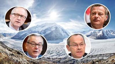 Peter Hegglin (CVP), Olivier Français (FDP), Martin Landolt (BDP) und Ruedi Noser (FDP) wollen jetzt die Gletscher retten. (Bild:Getty Images/Keystone/EQ Images/Montage CH-Media)